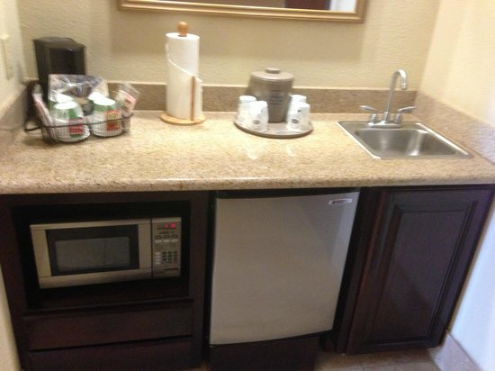 Hampton Inn & Suites Galveston:                   Separate alcove with coffee, microwave, refrig in room