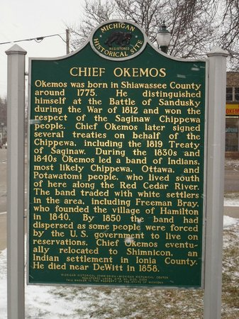 Okemos Village Historical Marker:   History of Chief Okemos
