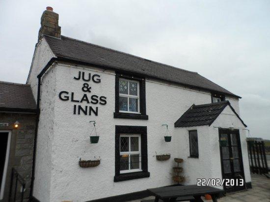 The Jug and Glass Inn:                   outside the inn.