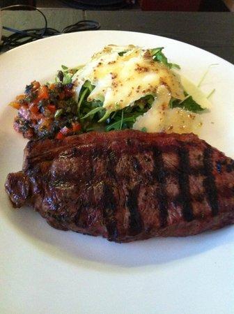 The Urban Wood: !2oz Newton Farm Sirloin Steak with red pepper tapenade