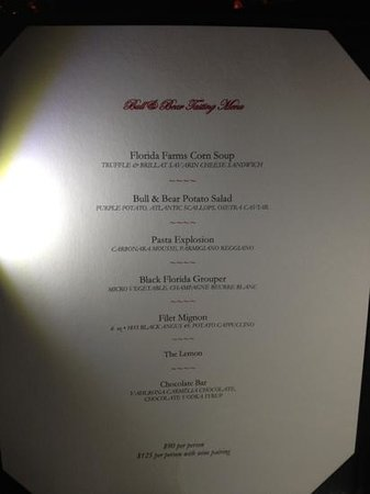 Waldorf Astoria Orlando:                   tasting menu Bull&Bear