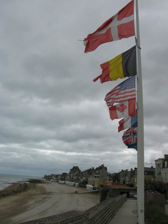 D-Day Beaches (Plages du Debarquement de la Bataille de Normandie):                   International flags at D Day beaches