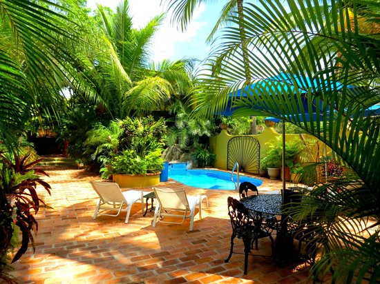 Roberto's Bungalows: Sitting by the pool in the courtyard