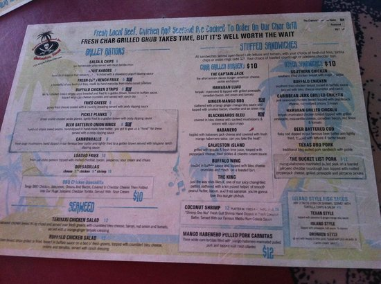 Food menu picture of captain jacks beach bar galveston for Food bar menu