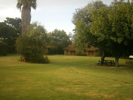 African Footprints Lodge:                   Lodge Cabins in the Back