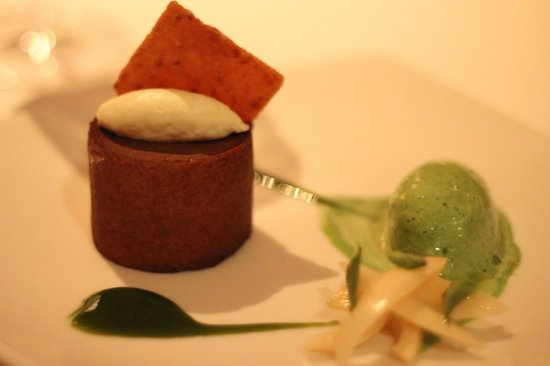 Mozaic Restaurant Gastronomique:                   A sensational sweet delight - choc fondant w basil ice cream