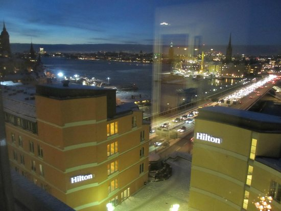 Hilton Stockholm Slussen: View from room, building on the right has main entrance and executive lounge