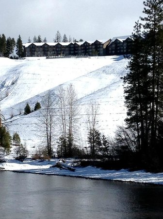 Suncadia Resort:                   View of the main lodge from a bridge across the Cle Elum River