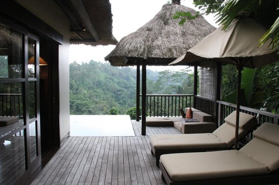 Hanging Gardens of Bali: Lazing area - our private pool