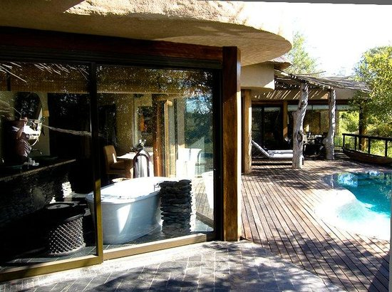 Singita Boulders Lodge:                   Our room (photo from outdoor shower)