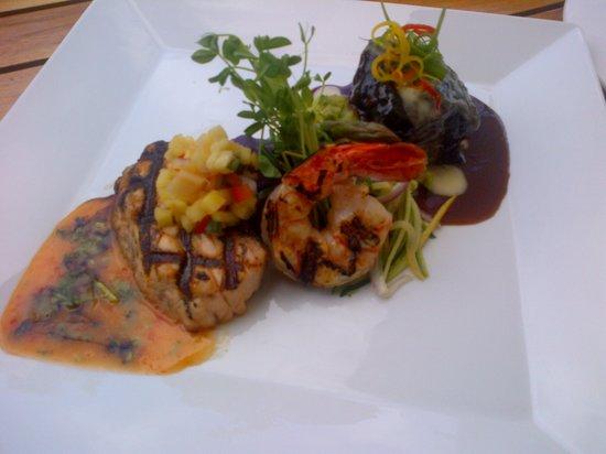 Nanea Restaurant and Bar: Entree Sampler. Salmon and prawn, braised short ribs