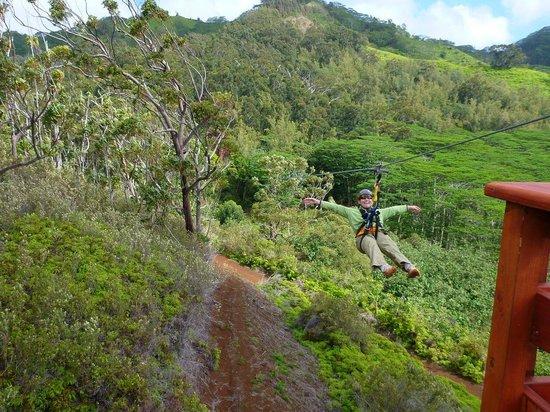 Koloa Zipline:                   Taking off backwards and hands-free