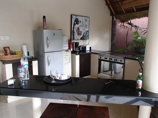 The Dusun:                   fully self contained kitchen, only missing a microwave, but they are available