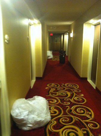 Warner Center Marriott Woodland Hills:                   Dirty laundry still in the hallway at 8pm on the concierge level