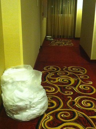 Warner Center Marriott Woodland Hills:                   Gross old food and dirty laundry on the concierge level