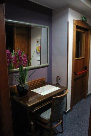 Hotel Ercoli :                   Puerta de entrada. Flores de Recepción.
