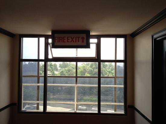 Casa Hotel:                   fire exit fully blocked by fixed glazing