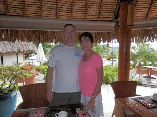 Bora Bora Pearl Beach Resort & Spa:                                     James & Mary ready for Breakfast