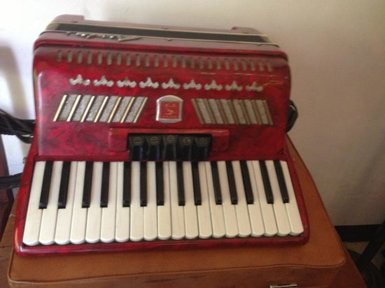 Indischetafel:                   Red accordion - one of the antique pieces