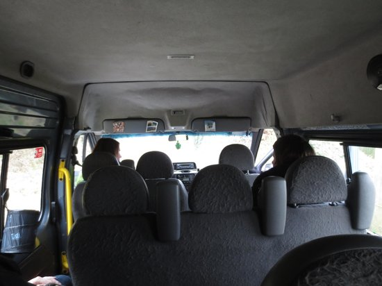 Walkabout Wicklow:                   Not much of a scenic view from the middle of the van - hard to see out the win