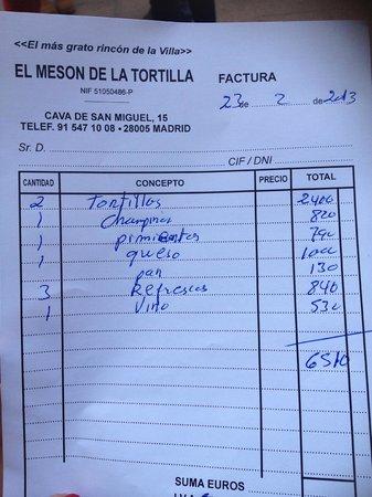 Meson de la Tortilla :                   Factura del 23 de Febrero, Nos tomaron el pelo.