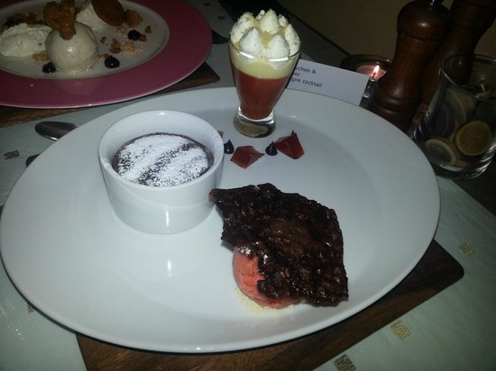 Montparnasse:                   Hot chocolate pudding, blood orange trifle & sorbet