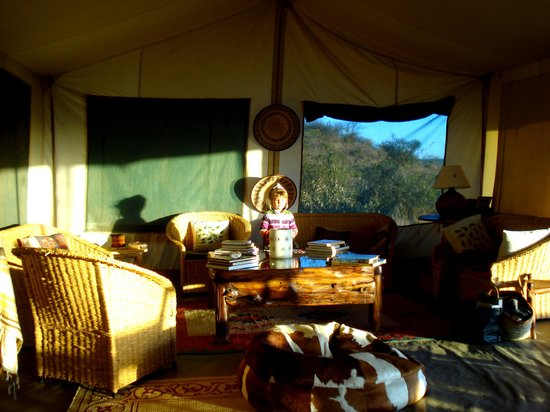 Laikipia Wilderness Camp:                   Inside the mess tent.