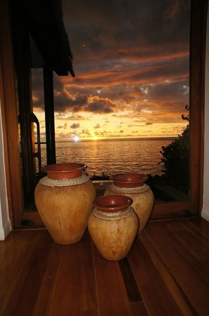 Royal Davui Island Resort:                   Sunset from the hallway overlooking plunge pool & ocean