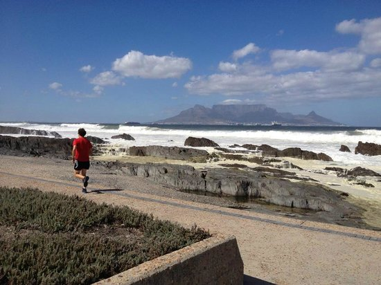 Dolphin Inn Guesthouse-Blouberg:                   The road by the beach is popular with runners - we thought we'd join them for
