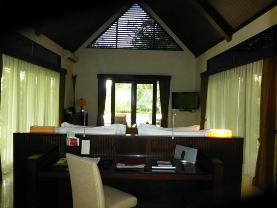 The Samaya Bali Ubud:                   Hillside Villa 105 with top triangular facade in blinds that let in light.