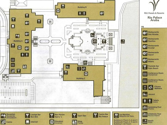 Map of buildings at Riu Palace Aruba Picture of Hotel Riu Palace