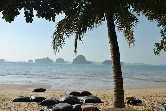 The Tubkaak Krabi Boutique Resort:                   Beach view with beanbags