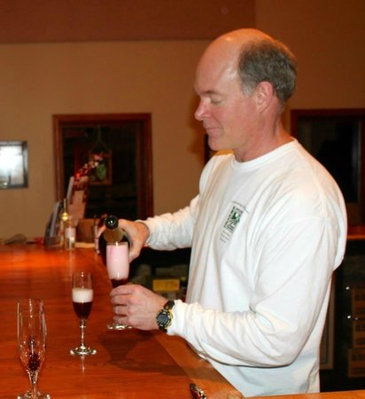 Pearmund Cellars Winery:                                                       Mike pouring champagne before the dinner