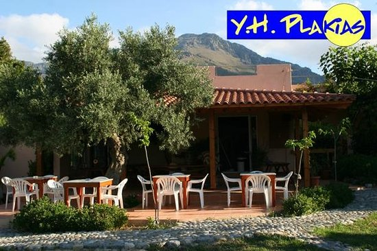 Youth Hostel Plakias: Terrasse des Hostels