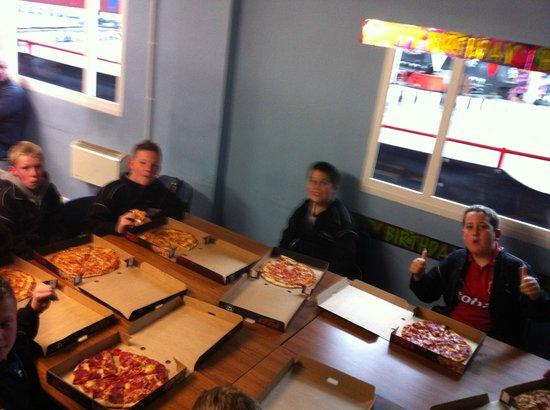 "West Coast Indoor Karting: 12"" stonebaked pizzas!"
