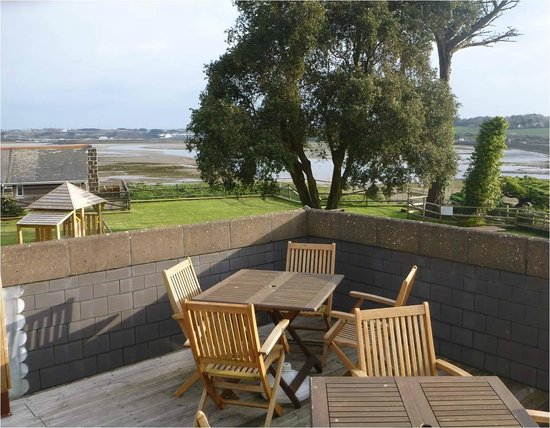 The Old Quay House:                   View from the Restaurant's upper terrace...