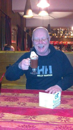 Hotel Gran Baita:                   My dad enjoying a Captain's Chocolate