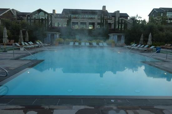 Rosewood Sand Hill :                   Mist over the pool on a winter morning.