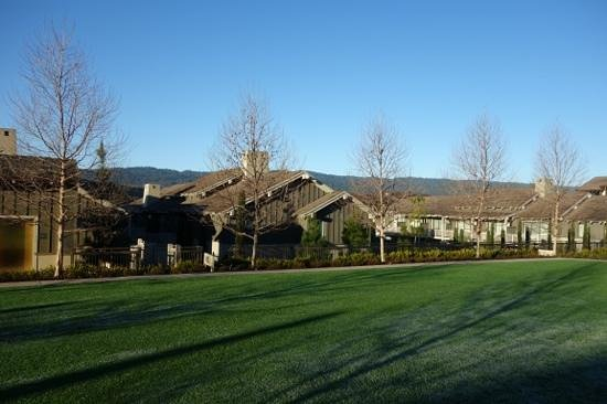 Rosewood Sand Hill:                   Cottages with the Santa Cruz mountains in the background