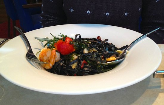 Restaurant Flavors:                                     Black pasta, prawns, clam, mussels and vegetables