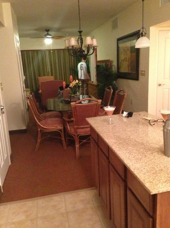 Floridays Resort Orlando:                   Spacious dining and living room - View from kitchen