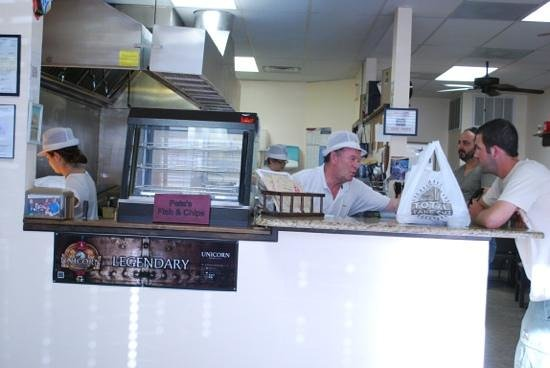 Pete's Fish and Chips:                   Pete and one of his customers