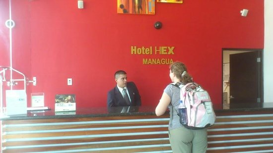 Hotel HEX: Front desk. Roberto is extremely helpful, friendly, and speaks excellent English.