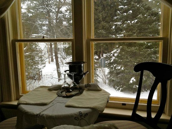 Wild Swan Bed & Breakfast Inn:                   Our table with a view in our room.