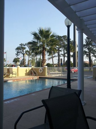 Hampton Inn and Suites Lake City:                   Pool patio just outside the breakfast area in the lobby.