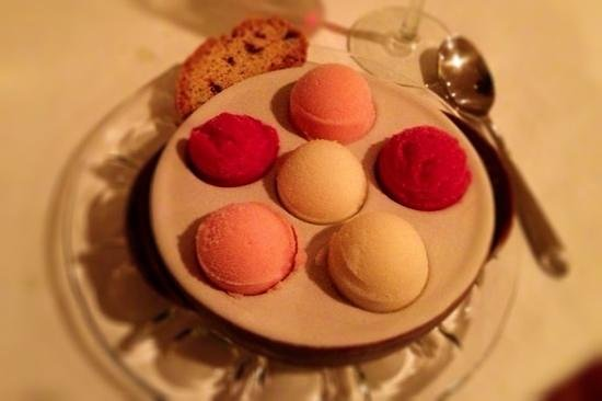 Antelao Restaurant:                   Homemade Sorbet sampler. Concord Grape, Guava & Pear Anise