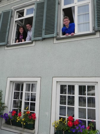 Adler Hotel Restaurant:                   Our family looking out the window