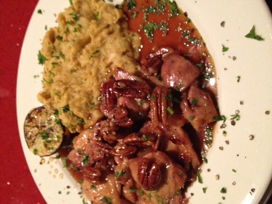 Falafel Bistro and Wine Bar: Orange chicken pecan in date sauce accompanied with roasted garlic mashed potato