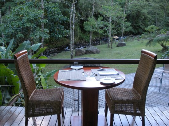 El Silencio Lodge & Spa:                   Table for two overlooking the beautiful grounds