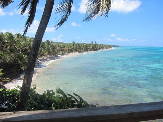 Casa Iguana:                   View of beach from the porch of the lodge